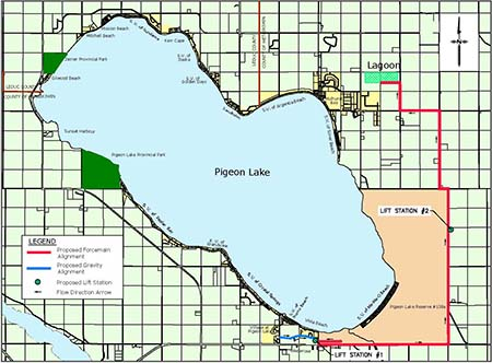 A map of Pigeon Lake